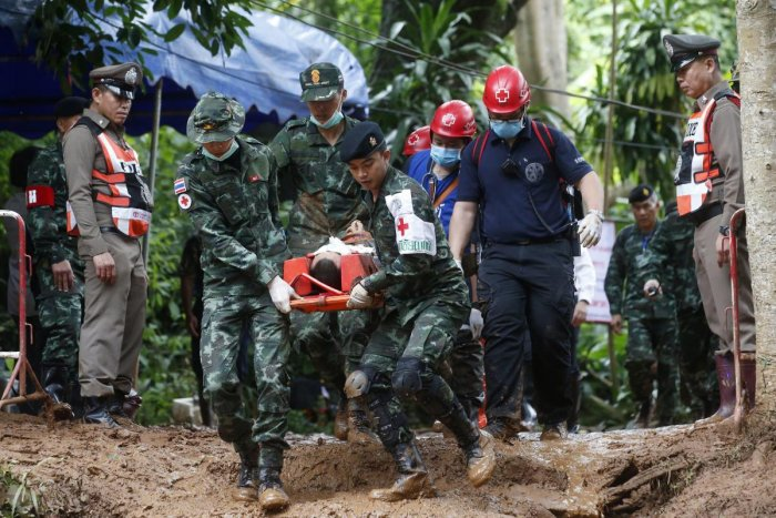 Rescuers have been searching for 12 boys and their soccer coach missing for seven days in the flooded cave complex. AP/PTI Photo