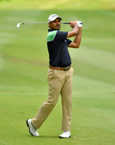 ROCK STEADY: Gaganjeet Bhullar drives during the third round of the Queen's Cup on Saturday. AFP