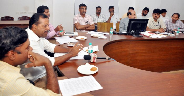 Minister for Urban Development U T Khader speaks at a review meeting in Mangaluru on Saturday on the status of national highways in Dakshina Kannada district.
