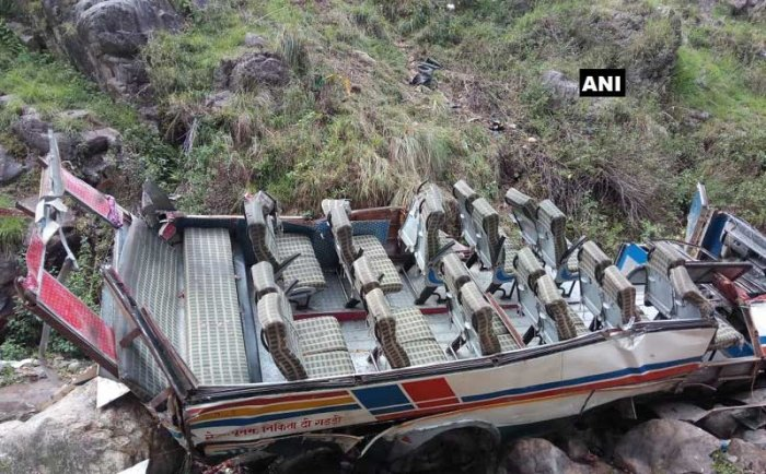 The incident occurred near Gween village in the district when the overloaded private bus, on its way to Ramnagar. ANI photo