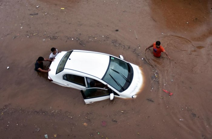 The system was trained by the students to reveal a water logging intensity score using an algorithm which could determine the extremity of the problem in the area. (PTI file photo)