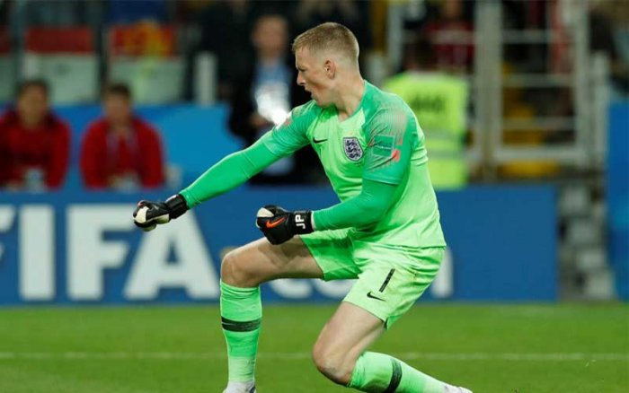 Jordan Pickford celebrates after saving a penalty during the shootout against Colombia. (Reuters Photo)