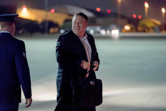 US Secretary of State Mike Pompeo arrives to board his plane to travel to Anchorage, Alaska on his way to Pyongyang, North Korea in Andrews Air Force Base, Maryland, US. REUTERS Photo