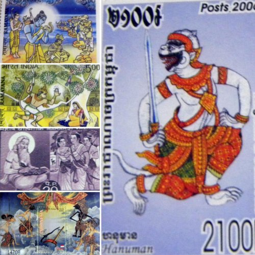 A collage of stamps on Ramayana, part of N Sridevi's collection.