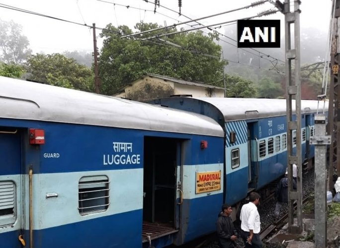 The coaches of the Madurai Express train after derailment. Twitter/ANI photo.