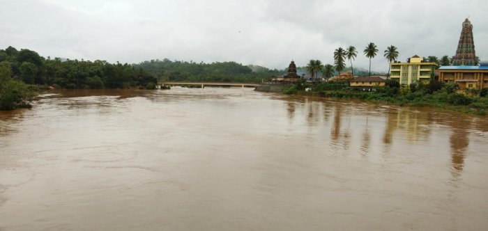 River Tunga is in spate in Sringeri on Thursday, following continuous rain.