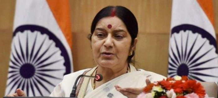 """""""Kansas incident - My heartfelt condolences to the bereaved family. We will follow this up with the Police and provide all assistance to the family,"""" Swaraj tweeted. (PTI File Photo)"""
