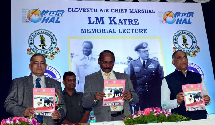 ISRO chairman K Sivan (centre) and HAL chairman T Suvarna Raju (right) at the 11th Air Chief Marshal L M Katre memorial lecture at the HAL Convention Centre in Bengaluru on Saturday.