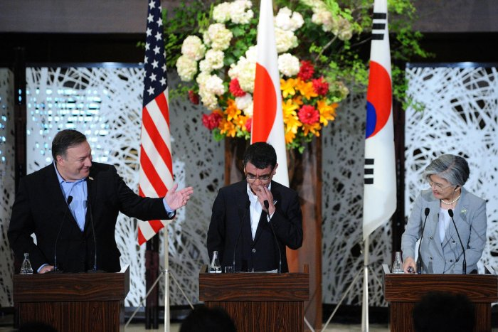 U.S. Secretary of State Mike Pompeo (L), Japan's Foreign Minister Taro Kono (C) and South Korean Foreign Minister Kang Kyung-wha (R) attend a joint press conference at the Japan-US-ROK Trilateral Foreign Ministers' Meeting on July 08, 2018 at the Iikura Guesthouse of the Foreign Ministry in Tokyo, Japan. Reuters