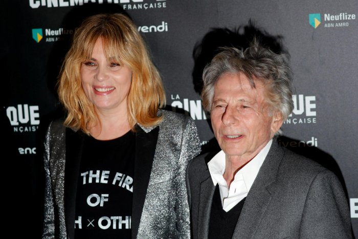 """French actor Emmanuelle Seigner and director Roman Polanski pose together prior to the screening of Polanski's movie """"D'apres une histoire vraie"""" (Based on a true story) at the Cinematheque in Paris, France. Reuters file photo."""