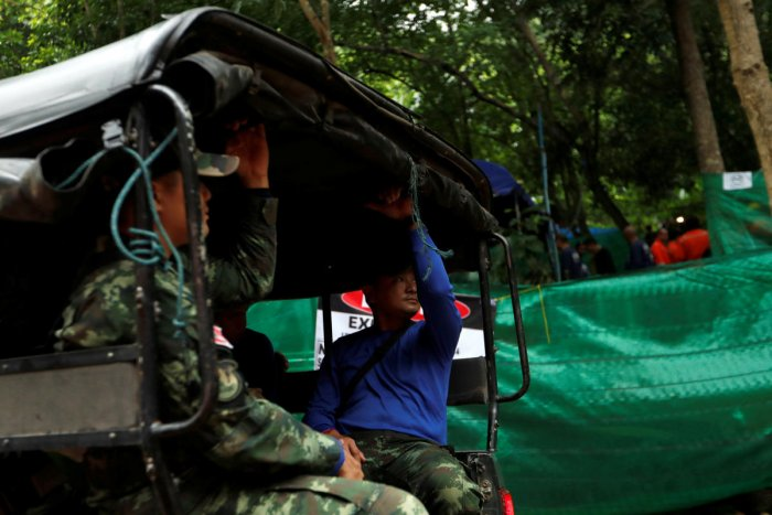 Soldiers arrive outside the Tham Luang cave complex after Thailand's government instructed members of the media to move out urgently, in the northern province of Chiang Rai. Reuters