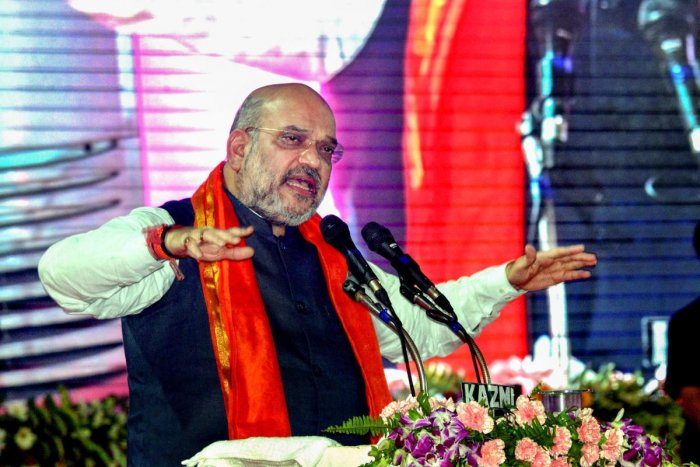 Amit Shah, who was met with a rousing welcome by party cadres, will hold an interactive session with members of the Sakthi and Maha Sakthi Kendra. (PTI file photo)