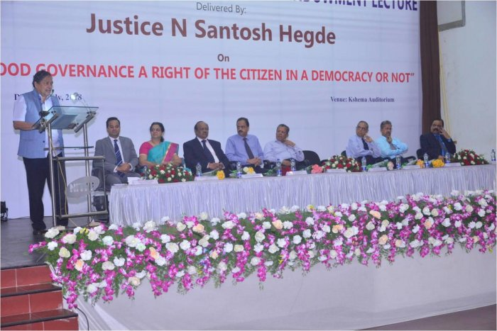 Former Lokayukta Justice Santosh Hegde speaks at Prof Dr N Sridhar Shetty Annual Endowment lecture, at A B Shetty Dental College on Monday.