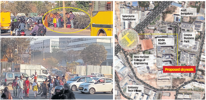 Crossing the busy ORR during rush hour to reach their workplace is a daily ordeal for the public. DH graphic/Ramu M