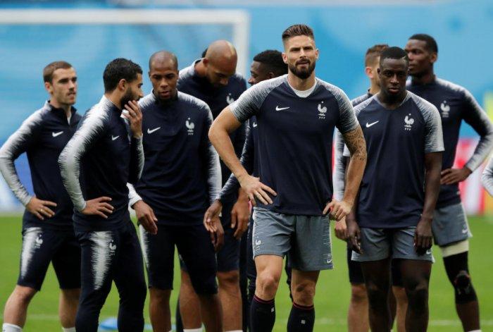 France's Olivier Giroud, Blaise Matuidi and teammates during training. (REUTERS/Henry Romero)