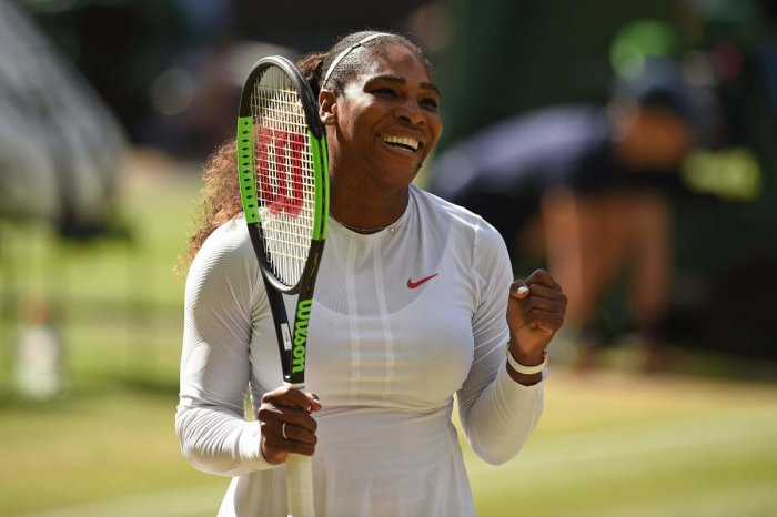 Serena Williams of the US celebrates after winning against Italy's Camila Giorgi. (AFP Photo)