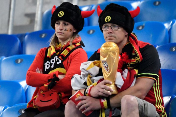 Belgium fans react to their team's defeat after the Russia 2018 World Cup semi-final between France and Belgium at the Saint Petersburg Stadium. (AFP Photo)