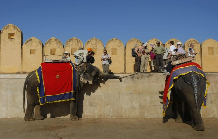 Elephant rides are a major attraction at Amer Fort. Jumbos painted with traditional patterns carry tourists up and down the steep slope at the fort. AFP file photo