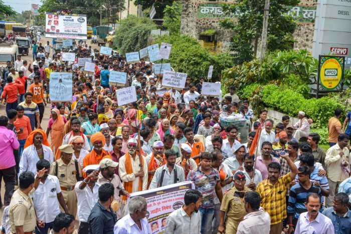 Members of the Nath Panthi Davari Gosavi community take part in a protest march demanding justice to the five tribals who were lynched in Rainpada village of Dhule district by a mob, in Karad, Maharashtra. PTI file photo