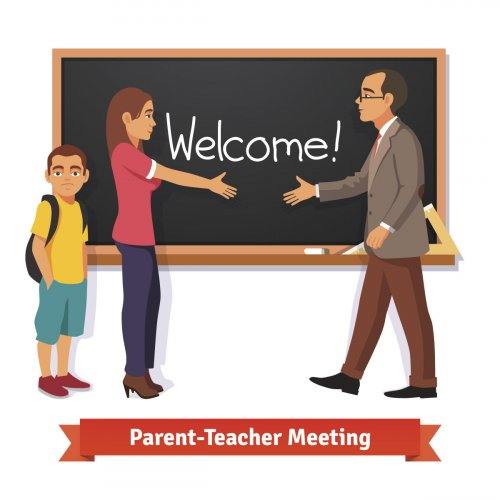 Parent-teacher meeting illustration.