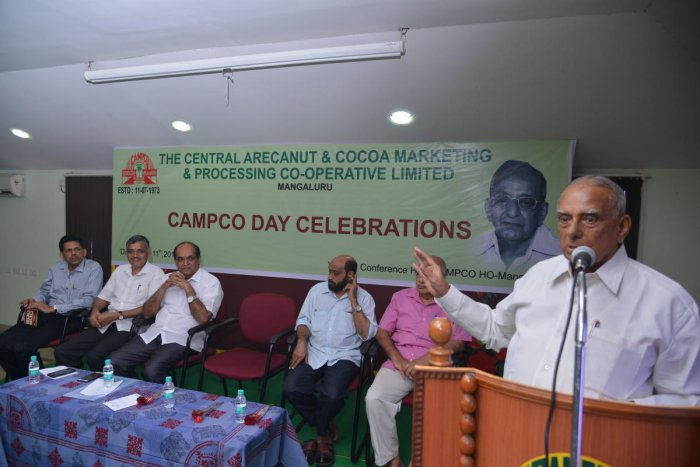 Campco founder director L T Thimmappa Hegde speaks at Campco Day celebrations in Mangaluru on Wednesday.