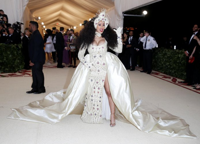 """Rapper Cardi B arrives at the Metropolitan Museum of Art Costume Institute Gala to celebrate the opening of """"Heavenly Bodies: Fashion and the Catholic Imagination"""" in New York. Reuters photo"""