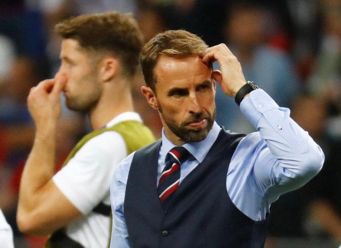 HARD END England manager Gareth Southgate looks dejected after the bruising semifinal loss. REUTERS