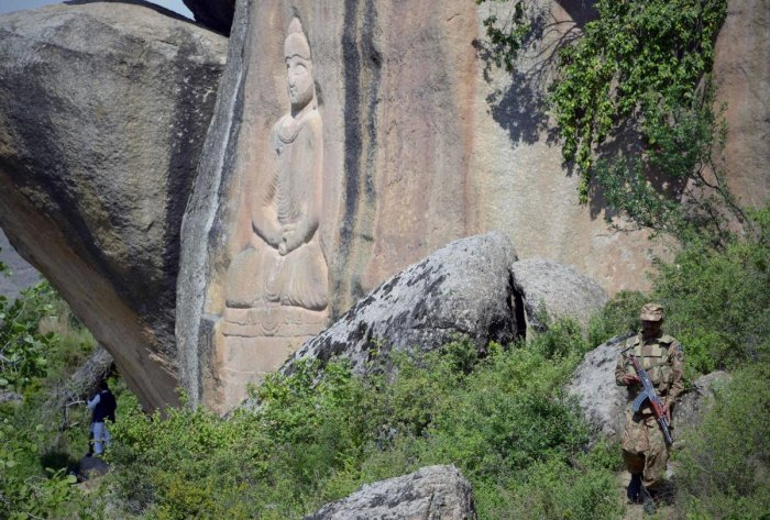 Buddha seated in a meditative posture, which is considered one of the largest rock sculptures in South Asia, was attacked in September 2007 by the Taliban militants, who blew up half the statue's face by drilling holes into the face and shoulders and inse