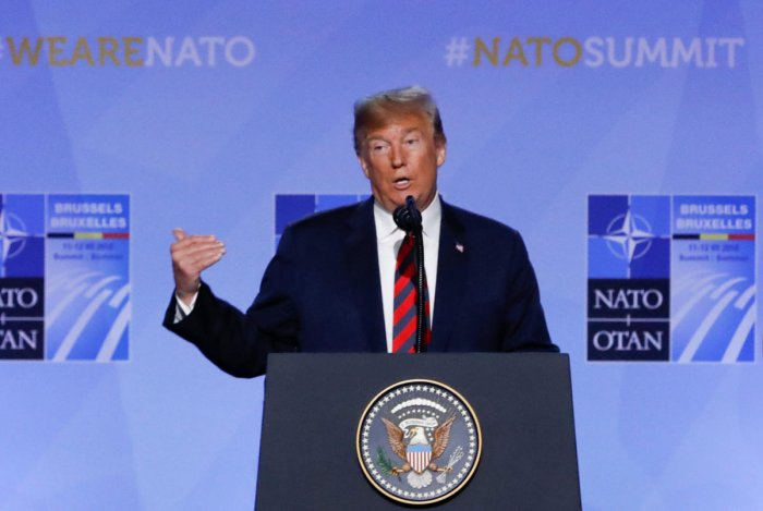 U.S. President Donald Trump holds a news conference after participating in the NATO Summit in Brussels, Belgium. Reuters photo