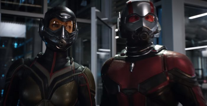 Hope van Dyne and Scott Lang in their respective suits in a still from the film. Photo: YouTube/Marvel Studios