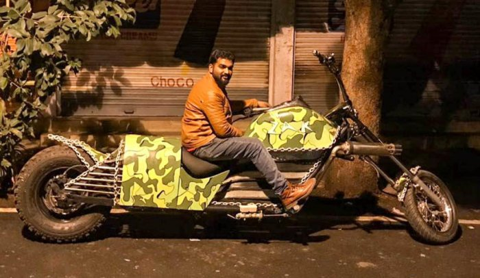 Zakir Khan with his customised bike.