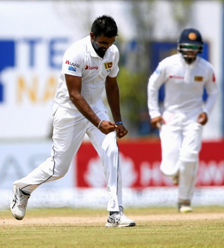 Wrecker-in-chief: Sri Lanka's Dilruwan Perera celebrates after dismissing South Africa's Quinton de Kock on Friday. REUTERS