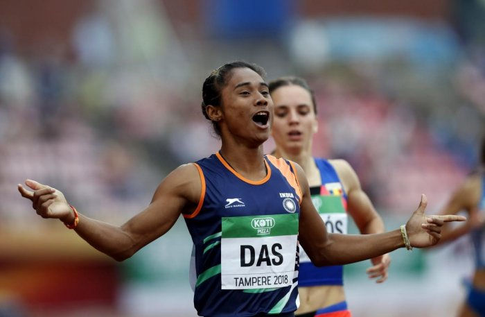 Hima Das, of India, celebrates her victory in women's 400 meter race at the 2018 IAAF World U20 Championships in Tampere, Finland, Thursday, July 12, 2018. AP/PTI.