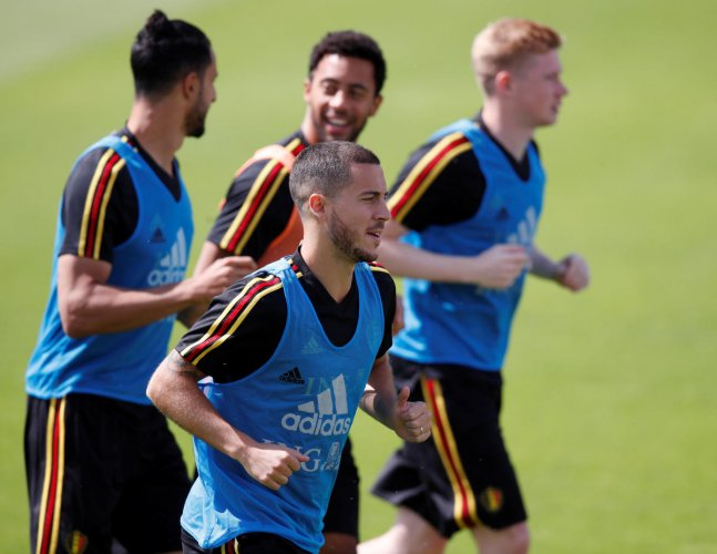 Belgium's Eden Hazard during a training session along with team-mates on the eve of their clash against England. REUTERS