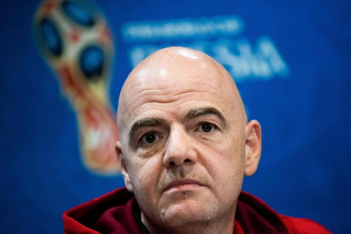 FIFA President Gianni Infantino at a press conference in Moscow on Friday. AFP