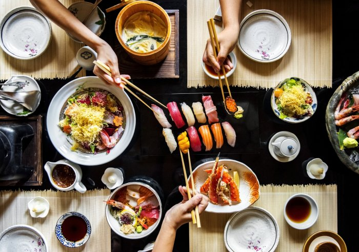 An array of Japanese dishes.