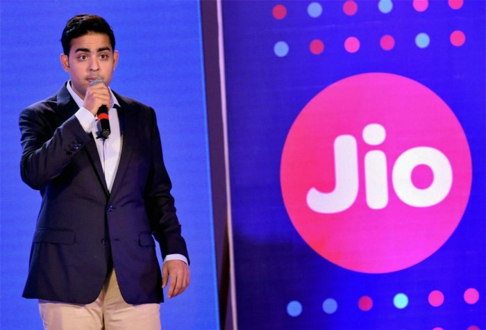 Industrialist Mukesh Ambani's son Akash Ambani speaks during an event for the unveiling of iPhone 8 and iPhone 8+, in Mumbai on Friday. (PTI Photo)