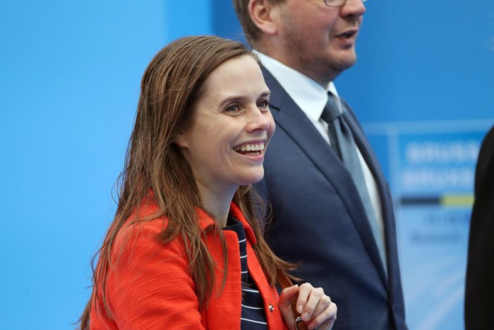Iceland's Prime Minister Katrin Jakobsdottir arrives for the second day of the NATO summit in Brussels, Belgium. (Reuters Photo)