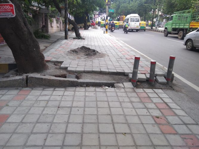 A footpath constructed by the BBMP recently in Banashankari 3rd Stage has already started caving in.
