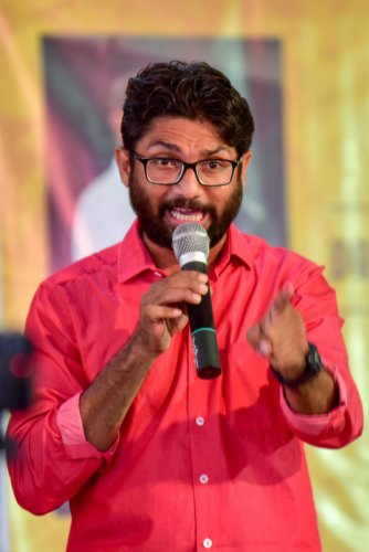 Jignesh Mevani at the St Aloysius Degree college on Friday. DH Photo/ B H Shivakumar