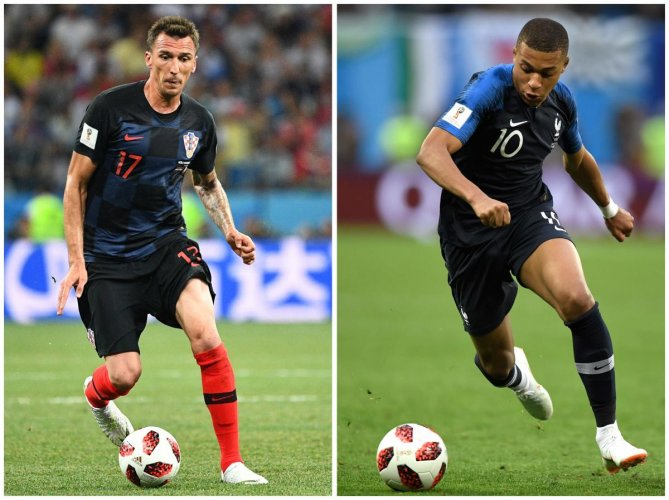 Croatia's Mario Mandzukic (left) and France's Kylian Mbappe will shoulder the attacking responsibilities for their teams in the World Cup final on Sunday. AFP