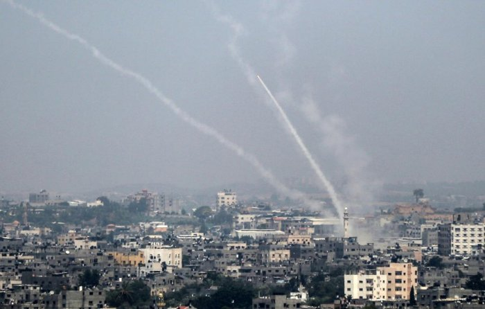 Palestinian rockets being fired from Gaza City towards Israel on Saturday. AFP