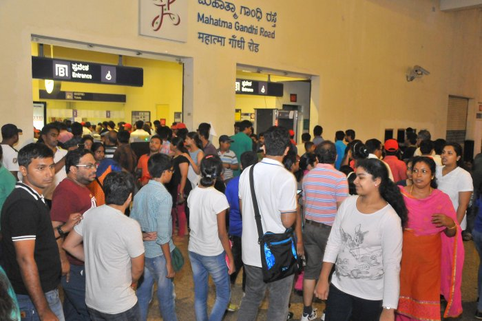 Several thousand commuters throng the MG Road Metro station, and the crowds are bigger on weekends.