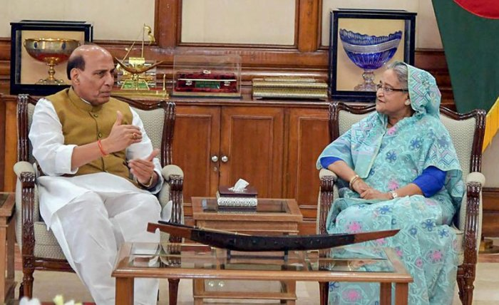 Union Home Minister Rajnath Singh called on Bangladesh Prime Minister Sheikh Hasina, in Dhaka on Saturday, July 14, 2018. Singh is on a three-day visit to Bangladesh. (Twitter/@rajnathsingh)