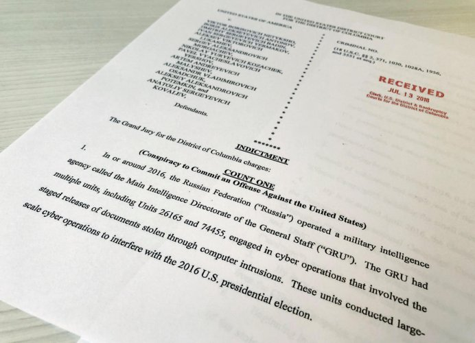 A copy of the grand jury indictment against 12 Russian intelligence officers is seen after the indictments were filed in U.S. District Court by prosecutors working as part of special counsel Robert Mueller's Russia investigation. Reuters photo.