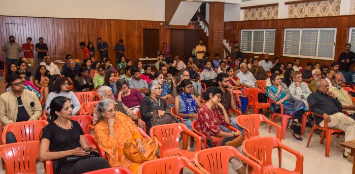 The recent decision by Malayalam film body AMMA to reinstate actor Dileep, who is accused of orchestrating an attack on a female co-star, received flak from film artistes and cinephiles in Bengaluru. The event held at East Cultural Association highlighted the same.