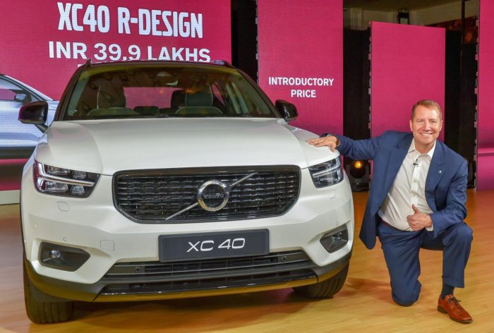 New Delhi: Volvo Car India Managing Director Charles Frump pose with the new SUV XC40 during its launch, in New Delhi on Wednesday, July 04, 2018. (PTI Photo/Kamal Kishore)(PTI7_4_2018_000093B)