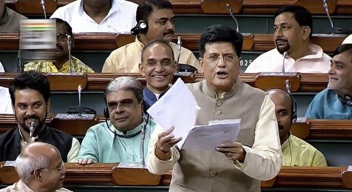 Union Minister Piyush Goyal speaks in the Lok Sabha during the Monsoon session of Parliament, in New Delhi on Thursday. (PTI Photo)