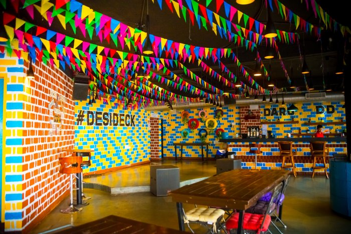 The Desi Deck is spacious and vibrant.