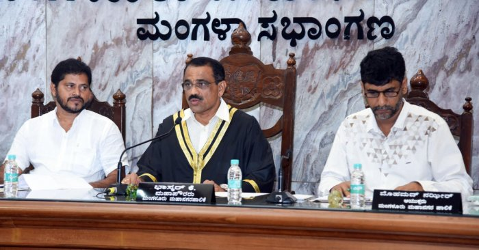 Mayor Bhaskar Moily speaks at a special meeting of the council of the Mangaluru City Corporation on Thursday.